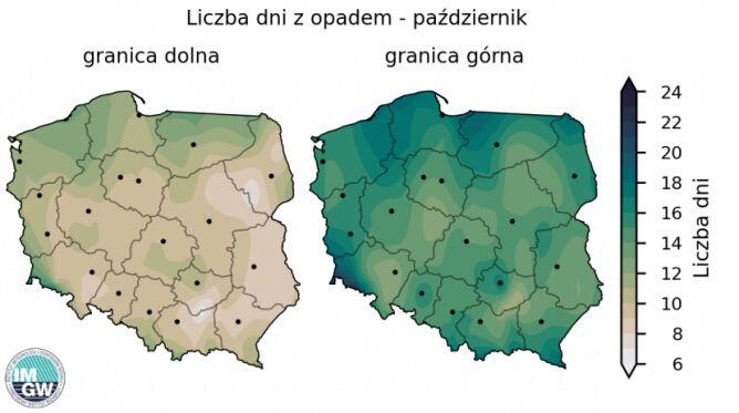 Granice normy wieloletniej liczby dni z opadem w październiku (źródło: IMGW)
