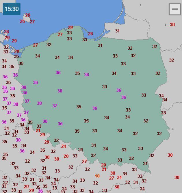 Temperatura w Polsce w środę 26 czerwca o godzinie 15.30 (wetteronline.de)
