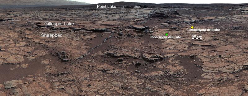 Obszar Glenelg (krater Gale) - zdjęcie wykonane przez Curiosity