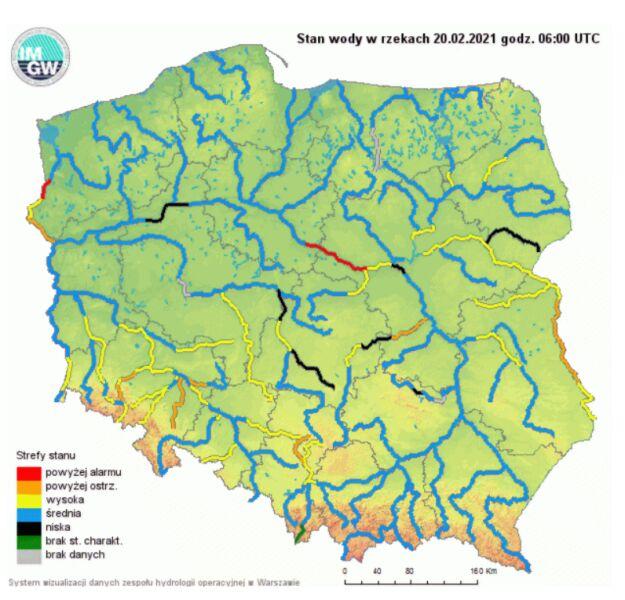 Stan wody w rzekach w sobotę rano (hydro.imgw.pl)