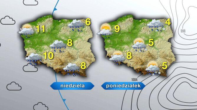 Pogoda w niedzielę i poniedziałek