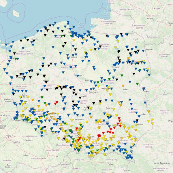 Stan wody w rzekach o godzinie 21.30 w sobotę (pogodynka.pl/polska/hydro)
