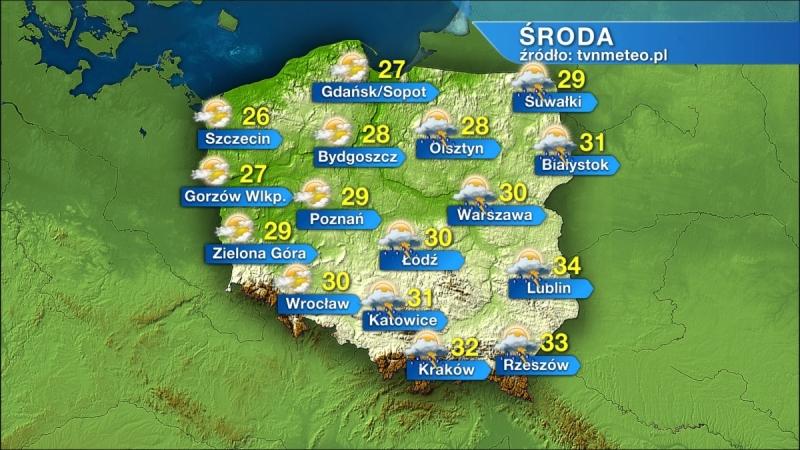 Temperatury prognozowane na środę