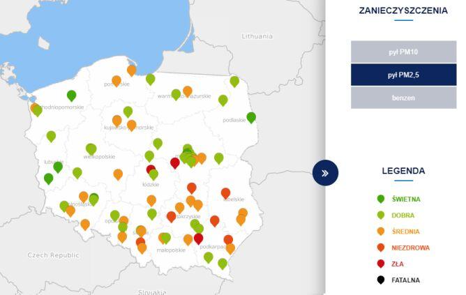 Poziom stężenia pyłu PM2,5 (tvnmeteo.pl za GIOŚ)