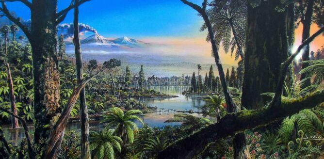 Wizja artysty Jamesa McKay'a pokazująca jak około 90 milionów lat temu mogła wyglądać Antarktyda (Alfred-Wegener-Institut, James McKay/Creative Commons licence C-BY 4.0